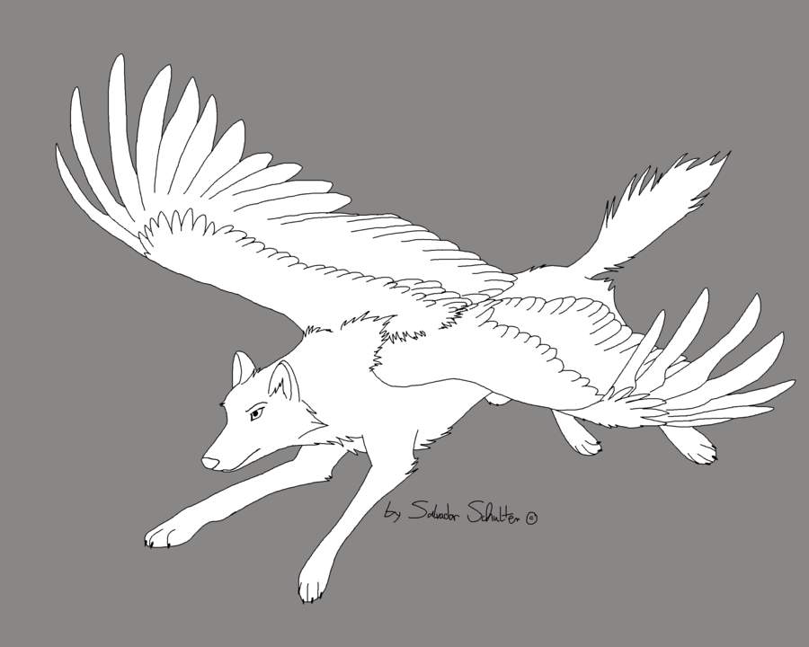 flying_wolf___free_lineart__by_preedexyoa-d5ca7ej.png